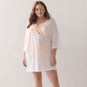 Cover Me Plus Size White Beach Swim Cover-Up Tunic
